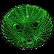Vintage Anchor Hocking Glass Forest Green Bowl Burple Pattern