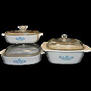 Vintage 6-piece Cornflower Blue Corning Ware Set
