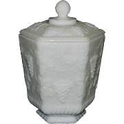 Vintage Anchor Hocking Fire King Ware White Milk Glass Cookie or Biscuit Jar