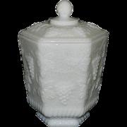 Vintage Anchor Hocking Fire King Ware White Milk Glass Cookie or Biscuit Jar