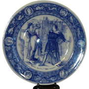 "Antique Wedgwood Ivanhoe Flow Blue 10"" Dinner Plate -Rebecca Repelling the Templar – Victorian Era"