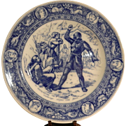 "Antique Wedgwood Ivanhoe Flo Blue 10"" Dinner Plate - The Black Knight and Friar Tuck."