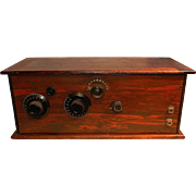 Antique Kellogg Wooden Case 3 Tube Battery Radio- circa 1920's