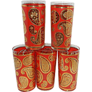 Vintage Culver Glassware Company Red And 24 kt Gold Paisley Pattern High Ball Tumblers