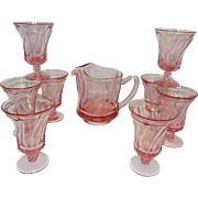 Vintage Fostoria Jamestown Pink Ice Tea Glasses and Pitcher