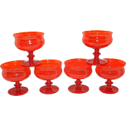 Vintage Hand Blown Orange Low Form Sherbet Glasses
