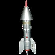 Vintage Die Cast Metal Mechanical Astro Rocket Ship Bank