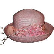 Vintage Betmar New York Classic Pink Roll Up Straw Sun Hat