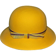 Vintage Executive Woman Mr. K Yellow Felt Bowler  Hat