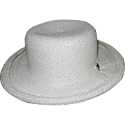 Betmar New York Mid Century White Hat with Interwoven Silver Threads