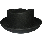 Vintage Michael Howard Black Wool Miss Bierner Hat