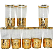 Vintage Culver Signed Antigua Mid-Century 22-Karat Gold Highball Glasses