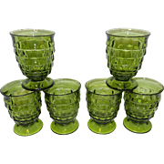 Vintage Whitehall Avocado Green Cubic Juice Glasses