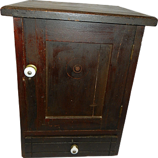 Vintage Mission Style Wood Wall Cabinet with Drawer