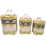 Vintage Set of 3 Casafina Canisters Hand Painted Portugal Yellow Blue Floral
