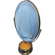 Vintage Large Oval Double Sided Magnifying Make Up or Vanity Mirror with Weighted Base or Stand