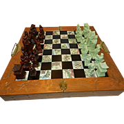 Vintage Soapstone Asian Emperor's Court Chess Set with Inlaid Board