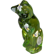 Fenton Green Hand Painted Grooming Cat Figurine Signed