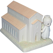 Vintage 1989 Precious Moments Christian Chapel - There's A Christian Welcome Here, Samuel Butcher Special Commemorative Chapel Figurine 523011