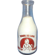 Vintage Valley View Dairy Red Pyro Quart Milk Bottle with Baby