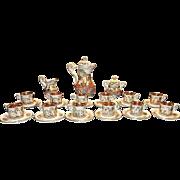 Vintage R Capodimonte Italian 29 piece Tea Set with 12 22ktGold Lined Demitasse Cups & Saucers