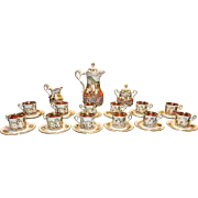 Vintage R Capodimonte Italian 29 piece Tea Set with 12 22ktGold Lined Demitasse Cups & Saucers