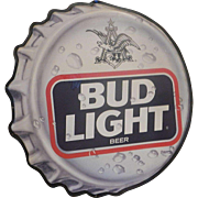 Vintage 1990's Bud Light Bottle Cap Tin Advertising Sign