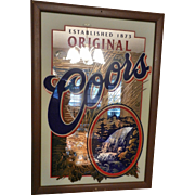 Vintage 1990's Mirrored Glass Coors Beer Advertising Sign