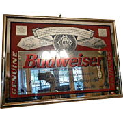 Vintage 1990's Budweiser Mirrored Advertising Sign