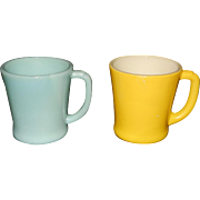 Vintage 1940's Turquoise Blue and Yellow Fire King D Handle Coffee Mugs