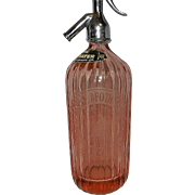 Vintage Pink Greenock Apothecaries and Lawsons Ltd Soda Syphon Seltzer Bottle
