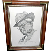 Vintage Will Rogers Portrait Artist Signed by Robert Gartland 1969