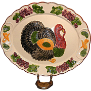 Vintage Large Hand Painted Ceramic Turkey Platter