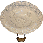 Vintage White Embossed Turkey Platter made in Japan