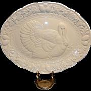 Vintage White Embossed Turkey Platter made in Japan