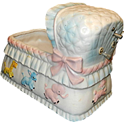 Vintage Relpo Baby Bassinet Music Box Flower Planter