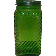 Vintage Green Hoosier Depression Glass Spice Jar