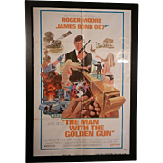 Vintage Original 1974  James Bond Man with the Golden Gun Staring Roger Moore Movie Poster