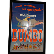 Vintage Original 1972 Walt Disney Dumbo Re-release Movie Poster