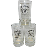 Vintage Jack Daniels Embossed Old Time Old No.7 Logo Thick Bottom Whiskey Glasses