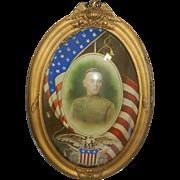 Antique Convex Bubble Military Frame World War I Portrait