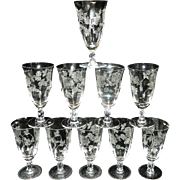 Vintage Heisey Rose Iced Tea Glasses Pattern 5072