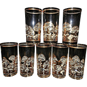 Vintage Mid-Century Culver 22 kt Gold Mushroom High Ball Glasses