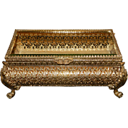 Vintage Ormolu 22 kt. Gold Overlay Beveled Glass Jewelry Casket