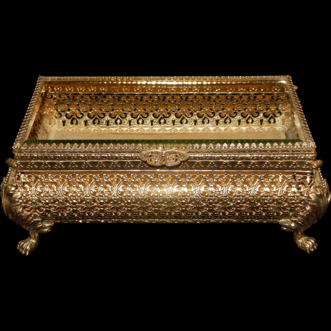 Vintage Ormolu 22 kt. Gold Overlay Beveled Glass Jewelry Casket