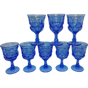Vintage Fostoria Argus Blue Henry Ford Museum Water Goblets #2770