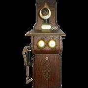 Antique Central Telephone & Electric Co St. Louis World Fair Exhibit Oak Double Box Wall Mount Telephone