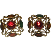 """Vintage Post Gold Tone and """"Jewels"""" Costume Jewelry Earrings"""