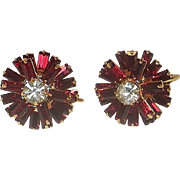 "Vintage Clip On Star Burst ""Garnet"" and ""Diamond"" Costume Jewelry Earrings"