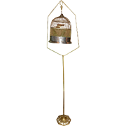 Vintage Art-Deco Brass Hendryx Hanging Hatbox Bird Cage with Cast Iron Stand